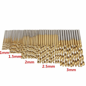 Drillpro 50PCS 1/1.5/2/2.5/3mm HSS Titanium Coated High Speed Steel Drill Bit Set