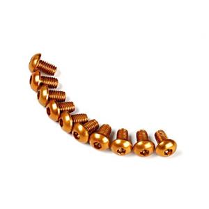 Screw Round Head Hex M3 x 5mm 7075 Aluminium Gold