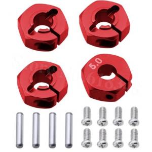 Red Aluminum Wheel Adaptors with Lock Screws - 5mm (12mm Hex)