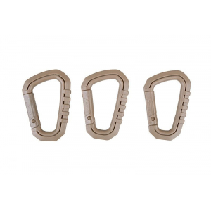 Set of polymer carabiners - tan