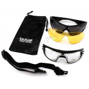 BALLISTIC SPECTACLES RAIDER KIT PLATINUM BLACK - CLEAR, GREY, YELLOW