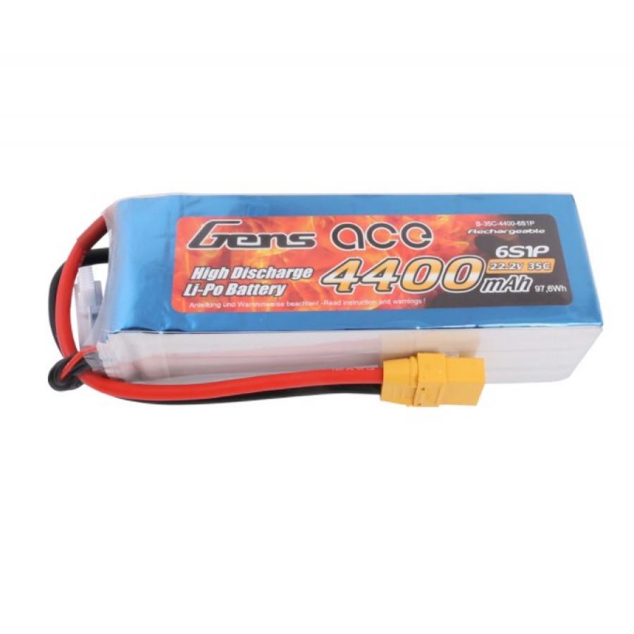 Gens ace 4400mAh 22.2V 35C 6S1P Lipo Battery Pack with XT90 plug