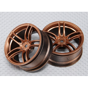 1:10 Scale Wheel Set (2pcs) Bronze Split 5-Spoke RC Car 26mm (3mm offset)