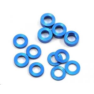 ProTek RC Aluminum Ball Stud Washer Set (Blue) (12) (0.5mm, 1.0mm & 2.0mm)