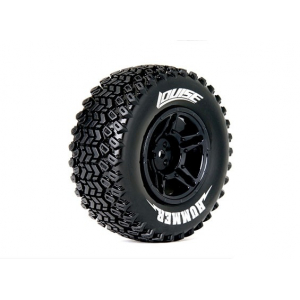 LOUISE SC-HUMMER 1/10 Scale Truck 4X4 Tires Soft Compound / Black Rim / Mounted
