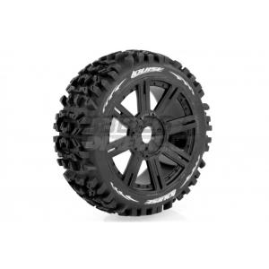 """Louise 3.3"""" B-Pioneer Tyres on Black 8 Spoke Rims - Glued Wheels 2Pcs"""