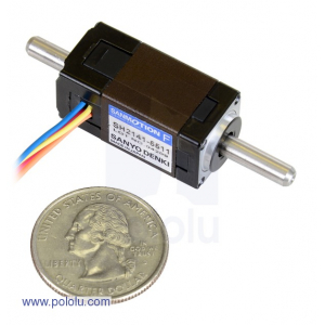 Sanyo Miniature Stepper Motor: Bipolar, 200 Steps/Rev, 14x30mm, 6.3V, 0.3 A/Phase, Double Shaft [229]