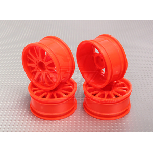 1:10 Scale Wheel Set (4pcs) Orange 14-Spoke RC Car 26mm