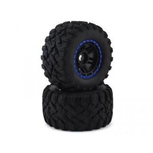 Traxxas Maxx All-Terrain Pre-Mounted Tires (2) (Black/Blue)