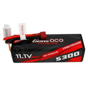 Gens ace 5300mAh 11.1V 60C 3S1P HardCase 15# car Lipo akumuliatorius su T-jungtimi