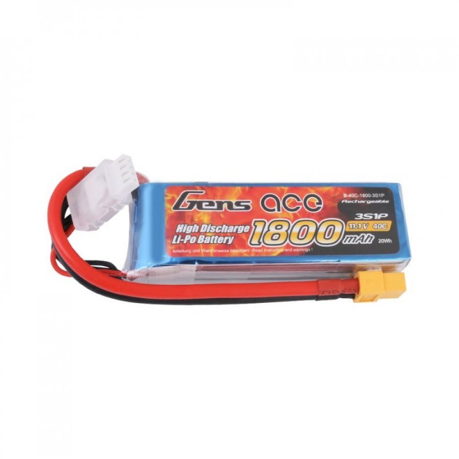 Gens ace 1800mAh 11.1V 45C 3S1P LiPo Battery Pack with XT60 Plug