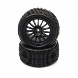 BRC-196342 4WD REAR TYRE AND RIM HEX 12 MM, 15 SPOKES, 90 * 42 MM (2) - BLACK