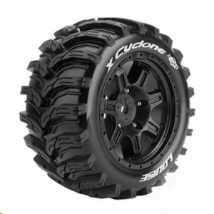 Louise T3298B RC X-Cyclone X-Maxx Complete Wheels (Rim Black) 24mm Recording