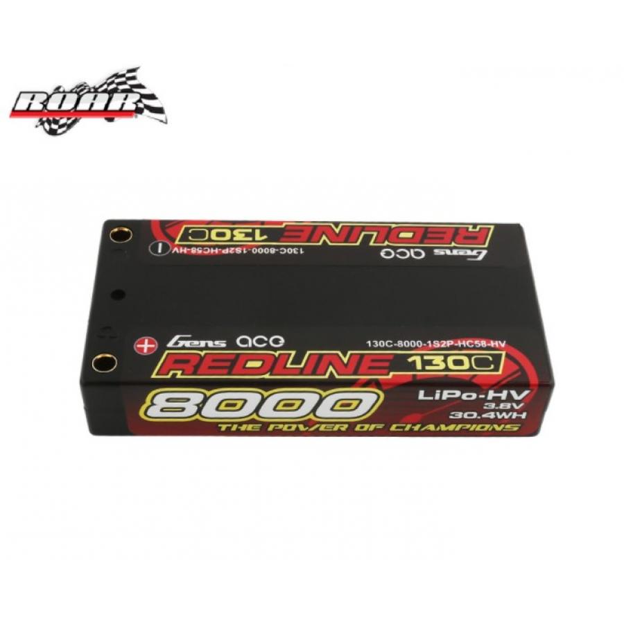 Gens ace Redline Series 8000mAh 3.8V 130C 1S2P HardCase #58 HV Lipo Battery