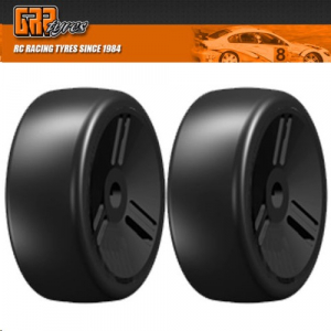 GRP GTV02-S5 1:8 GT T02 SLICK VELOCITY S5 Medium Tires Closed Black Wheel (2)