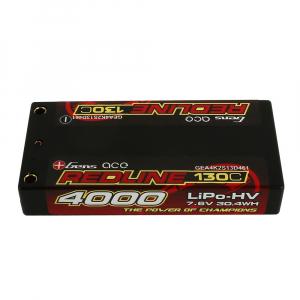 Gens ace Redline Series 4000mAh 7.6V 130C 2S1P HardCase HV Lipo Battery Pack with Hardcase