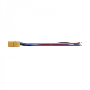 MT-60 male plug with 10 cm 16AWG power wire (blue + red + black) - MSP