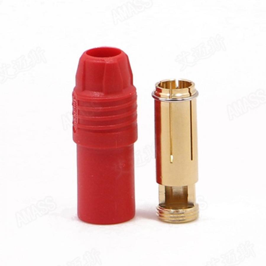 AMASS AS150 7mm paauksuota bananinė jungtis (bullet connector) - moretiška, raudona
