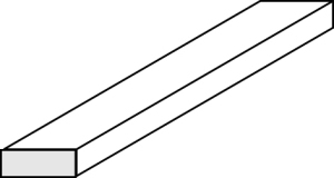Evergreen balta plastikinė stačiakampė juostelė 0.25x0.76x355.6mm 101 [158]