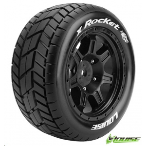 Louise T3295B RC X-Rocket X-Maxx Complete Wheels (Rim Black) 24mm Receptacle