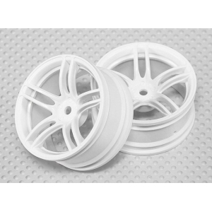 1:10 Scale Wheel Set (2pcs) White Split 5-Spoke RC Car 26mm (3mm offset)