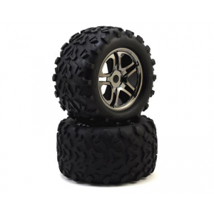 "Traxxas Maxx Tires 3.8"" Pre-Mounted Tires w/Split Spoke Wheels (2) (Black)"