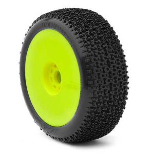 1:8 BUGGY CITYBLOCK (MEDIUM - LONG WEAR) EVO WHEEL PRE-MOUNTED YELLOW (ONE PAIR)