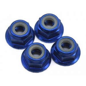 Traxxas 4mm Aluminum Flanged Serrated Nuts (Blue) (4)