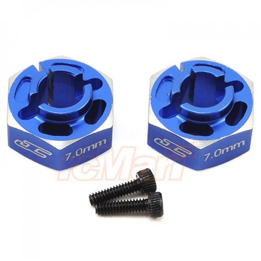 Jconcepts JConcepts Aluminum 7mm Lightweight Clamping Wheel Hex 2 pcs Blue For Team Associated RC10 B6 B6D