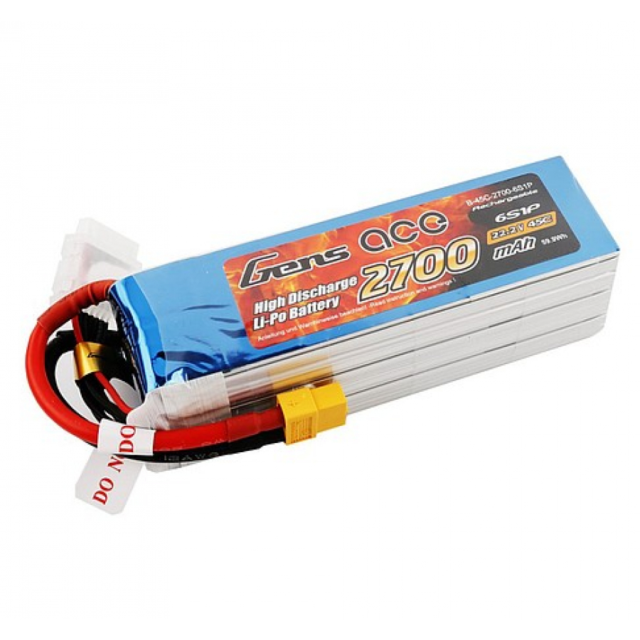Gens ace 2700mAh 22.2V 45C 6S1P Lipo Battery Pack with XT60 plug