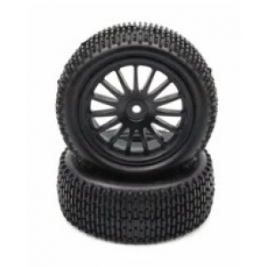 BRC-196336 4WD FRONT TYRE AND RIM HEX 12 MM, 15 SPOKES, 90 * 36 MM (2) - BLACK