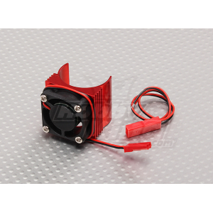 Motor Heat Sink w/Fan Red Aluminum (27mm)